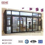 Sunroom en verre en aluminium vert romantique pour le reste extérieur