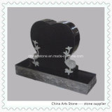 Monument droit de coeur en pierre noir de granit