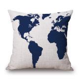 世界地図の見えないジッパー(35C0206)のないデジタルによって印刷される投球枕クッションカバー