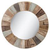 装飾的なミラーの円形木壁の骨董品ミラー