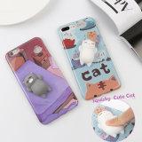 Caixa preguiçosa do telefone de pilha do gato da panda bonito do sono do aperto 3D para o iPhone 7