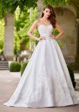 Амели скалистых A-Line Strapless кружева Satin свадебные платья