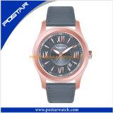 オレンジ手を搭載する防水黒い水晶腕時計