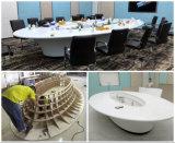 Table de réunion en pierre acrylique blanche ronde de vente de bureau chaud de salle de réunion avec des tiroirs pour l'hôtel