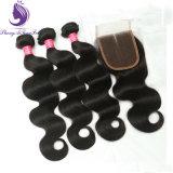 Stock Corpo Natural Tecelagem de fio de cabelo humano malaio ondulada