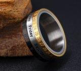 verglaasde Ring Mens van het Roestvrij staal van 8mm overdreef de Roterende Gouden Roman de Brede Slippy Ring van het Cijfer van de Partij van 3 Kleur Toevallige Roman