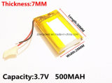 DVD GPS PSP Bluetooth를 위한 3.7V 500mAh 702030 재충전 전지