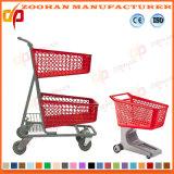 Chariot en plastique 180L (Zht91) de chariot à achats de supermarché d'enduit de poudre
