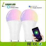 9W A19 GU24 Smart lumière multicolore 60W Ampoule halogène lampe de feu de WiFi équivalent pour la décoration d'accueil