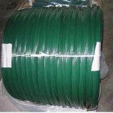 Le PVC vert-foncé a enduit le fil galvanisé d'IMMERSION chaude de fil pour le fil obligatoire