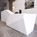 Conception moderne unique Articial Pierre Blanc Brillant Diamond comptoir de réception Bureau d'éclairage LED