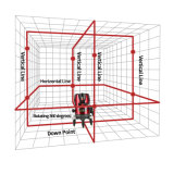 Laser 검출기를 가진 자동적인 빨간 광속 8 선 Laser 수준