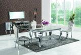 Haut de marbre classique en acier inoxydable Table à manger extensible