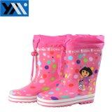 2018 солнечный розовых точек девочек текстильной печати втулку детей из натурального каучука высокого качества Wellingtons Rainboots кружева новый дизайн Wellies обувь для детей обувь
