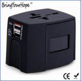 Colorare l'adattatore universale di potere di corsa del Muliti-Paese con 2 il USB (XH-UC-015)