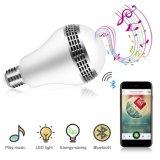 Haut-parleur sonore intrinsèque changeant de lampe de couleur du haut-parleur RVB de Bluetooth d'ampoule de musique de DEL avec à télécommande pour la maison, chambre à coucher, salle de séjour, décoration d'usager
