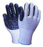 Из пеноматериала амортизирующей планки Cut-Resistant Hppe Латексные перчатки безопасности
