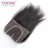 Wholesalenatural прямо из трех частей человеческого волоса кружева закрытия