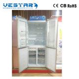 Edelstahl-doppelte Glastüren zeigen nebeneinander vertikalen Kühlraum an