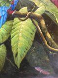 壁の装飾のためのハンドメイドのジャングルの鳥のオウムの油絵