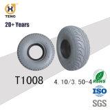 Poliuretano gris lleno de ancho de vía de la rueda de carretilla de mano