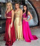 V-шее официальных Gowns красного синего цвета фуксии валика клея вечер платья A987