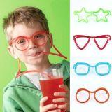 El día de Navidad de plástico de decoración de pajas, Children's gafas la paja