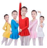 La danza al por mayor de la gimnasia del algodón de las muchachas arropa el Leotard del ballet de los cabritos del color sólido de las faldas