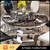 Mesa redonda de mármol determinada moderna del vector de cena del acero inoxidable