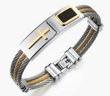 Armband 3 van mensen Juwelen van de Mensen van de Mensen van de Armband van het Roestvrij staal van de Manier van de Armbanden van de Armbanden van de Ketting van de Draad van Rijen de Punk Dwars Christelijke