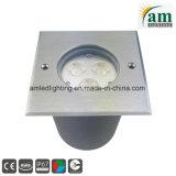 Acero inoxidable 3/9W LED redonda de la luz de Metro, la luz de cubierta