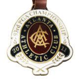 Het Naamplaatje van de Markering van de Zak van het Golf van de Reis van de Bagage van de Toebehoren van het Kampioenschap van de Golfclub PGA van het Messing van de Legering van het Zink van het Metaal van de douane met de Riem van het Email en van het Leer (001)