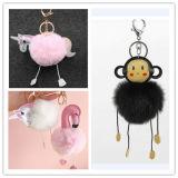 Популярные Единорог мех цепочки ключей шарик POM POM поддельные сумки меха очарование подвесной Фламинго кольца для ключей