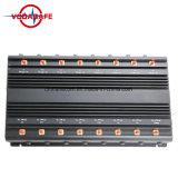 Señal Jammer para CDMA (851-894) + GSM (925-960 DC + (1805-1880) +PCS (1905-1990) + WCDMA, todos de alta potencia de señal celular Jammer con VHF UHF WiFi jammer