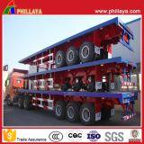 半3axles 20FT 40FTのトラックのConatinerのホームのための平面容器のトレーラー