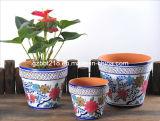 Pot de fleur rond de terre cuite décorative de Galze réglé (GW1746)