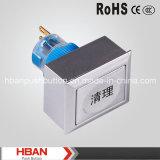 CE RoHS Hban (22mm) de cierre momentáneo con pulsador de símbolo de limpieza