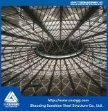 Telhado da estrutura do fardo da tubulação de aço com vidro para a decoração