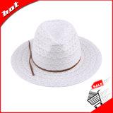 Ribbon Lace Sun Fedora Chapéu de Palha