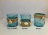 대양 시리즈 파란 유리제 촛대