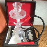 Narguilé en verre Shisha de guindineau avec la caisse de boyau et de cuir de narguilé (ES-HS-007)