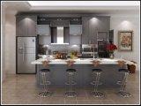 Gabinete de cozinha de madeira da porta do abanador do projeto moderno da cozinha