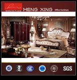 Chambre à coucher en bois de lit en cuir classique de meubles (HX-S022)