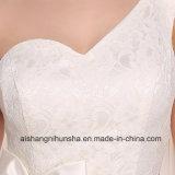Mangas Halter Ankle-Length Bridesmaid vestidos de cor branca