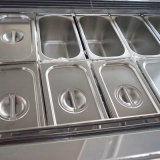 Porta de vidro curvo de sorvete de refrigeração de ar exibir para venda