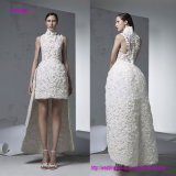 Short Sleeveless do Neckline elevado moderno novo do estilo na frente do vestido do baile de finalistas com a saia longa na parte traseira