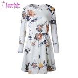 백색 꽃 무늬 긴 소매 미니 드레스