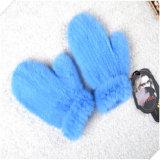 Кружевной устраивающих перчатки леди в кожаных Mittens норки мех перчатки