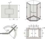 [فس203-135-2] قسم باب زجاجيّة يصقل كروم نحاس أصفر مفصلة