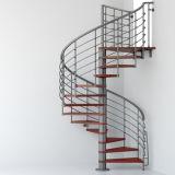 木製のステップの現代ステンレス鋼の螺旋階段